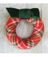 Avon Festive Plaid Cloth Christmas Wreath Brooc... - $11.95
