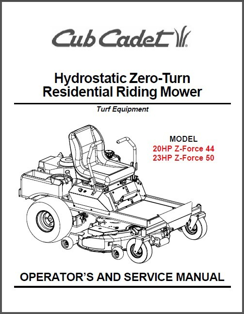 Cub Cadet Z-Force 44 Z-Force 50 Riding Mower and 28 similar items