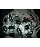 SIMPLY NOVA Pretty Silver Sequin Jet Black Kisses Make Up Bag NWT - $9.90