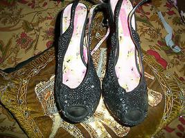 BETSEY JOHNSON Sharp Jet Black Sequence+Lace Peep Toe Heels Size 6 1/2 M - $15.84