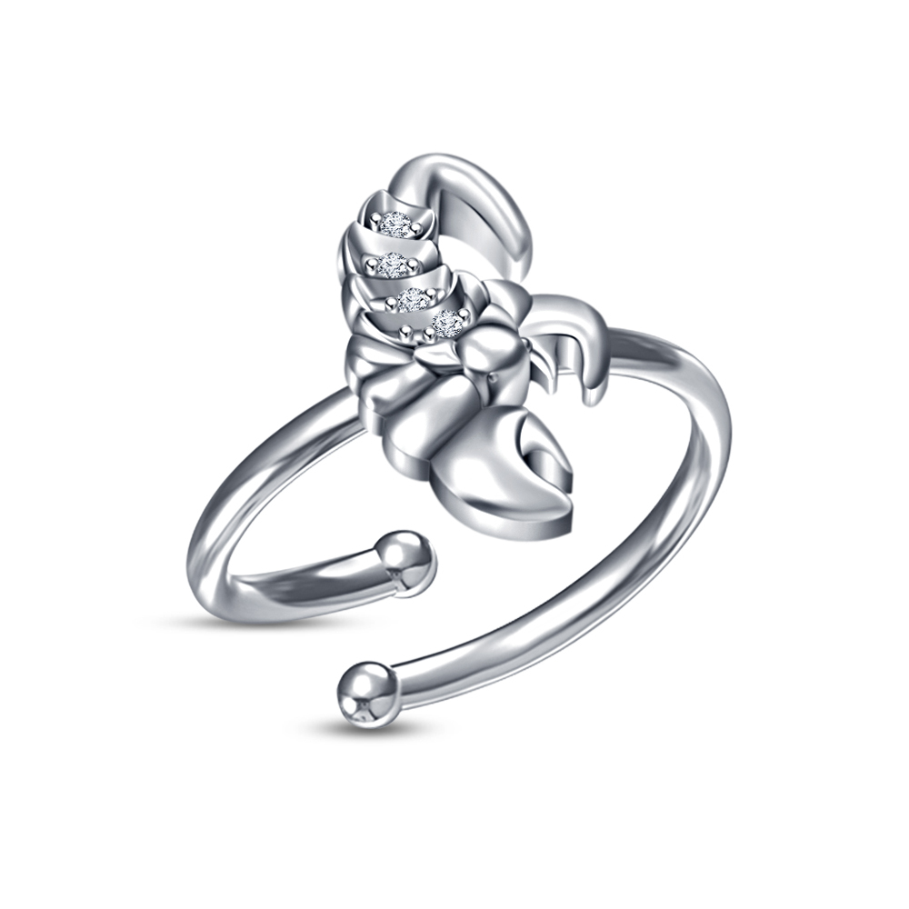 Primary image for Gorgeous White CZ .925 Pure Silver Scorpio Zodiac Sign Open Adjustable Ring