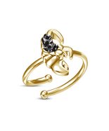 Gorgeous Black CZ Yellow Gold Finish Ladies Scorpio Zodiac Sign Adjustab... - £8.08 GBP