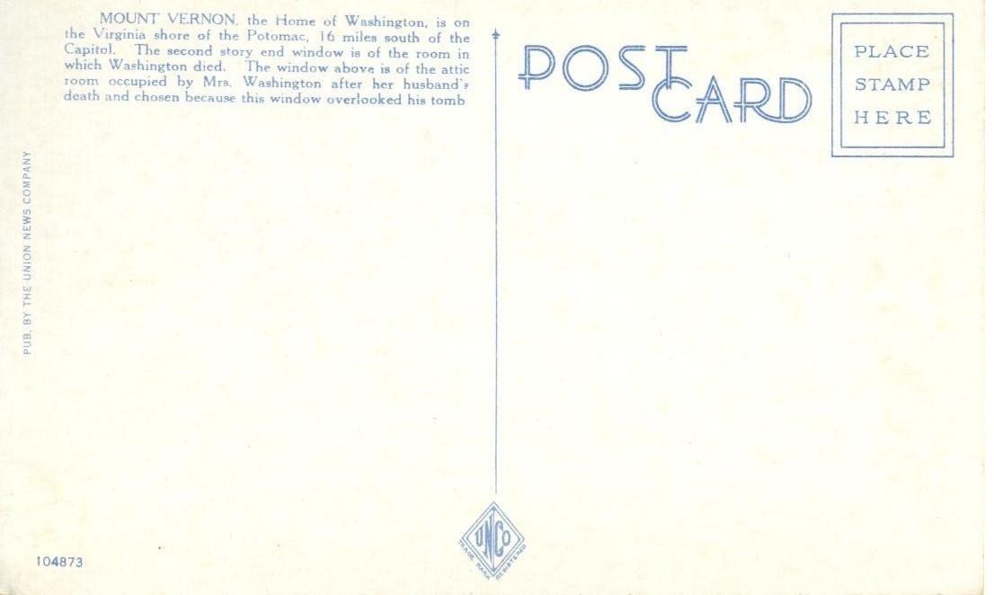 Home of Washington, Mt. Vernon, VA, 1910s-1920s unused Postcard