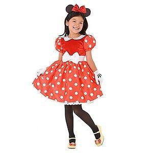 Disney Store Original Style Minnie Mouse Costume RED Dress with Gloves NEW NEW