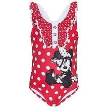 Disney Store Minnie Mouse Swimsuit Red White Polka Dot Girls Swimwear On... - $18.05