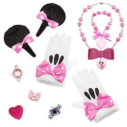 Disney Minnie Mouse Costume Accessory Set for Dress Up, Rings, Bracelet, Neck...