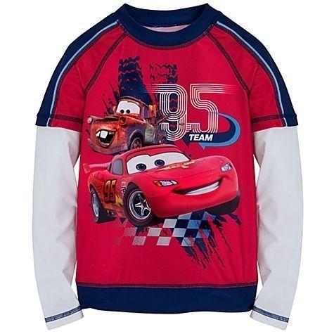 2,3,4,5//6,7//8,9//10 NWT Disney Store Cars Boy Rash Guard Shirt Top UPF 50