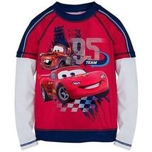 Disney Store Cars Lightning McQueen Swimsuit  Rash Guard Long Sleeve SPF... - $18.95