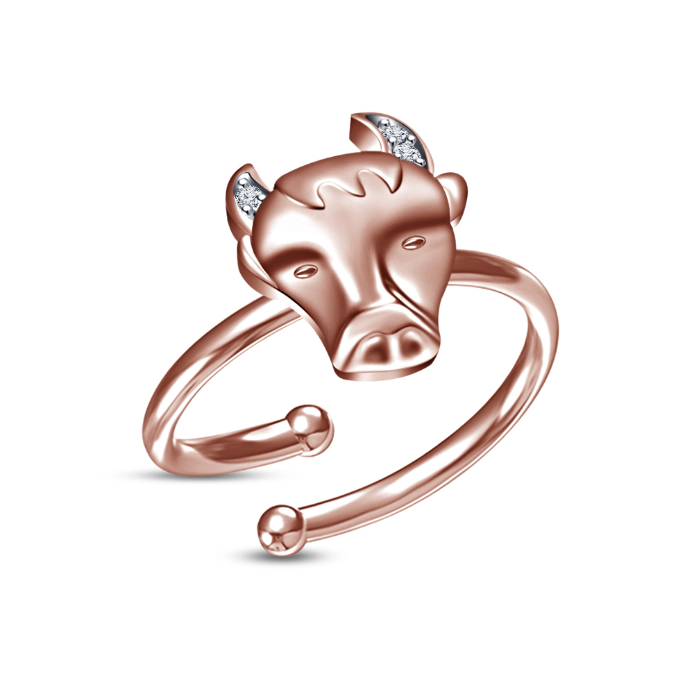 Primary image for Perfect Zodiac Sign Taurus Adjustable Ring With White CZ Rose Platinum Finishing