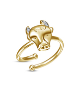 White CZ 14k Yellow Platinum Plated Perfect Zodiac Sign Taurus Adjustabl... - £8.08 GBP