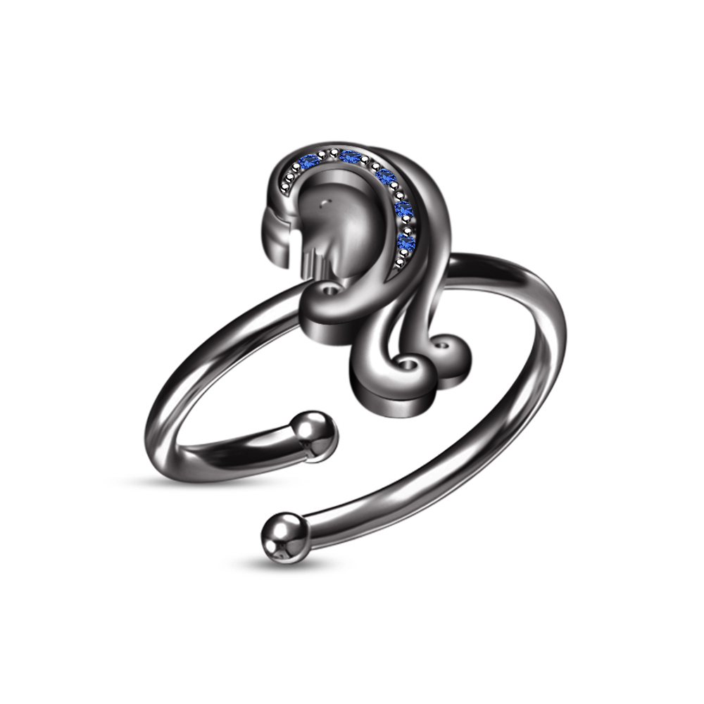 Black Platinum Plated Blue Sapphire Unique Zodiac Sign of Virgo Adjustable Ring