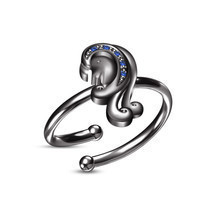 Black Platinum Plated Blue Sapphire Unique Zodiac Sign of Virgo Adjustab... - £65.59 GBP