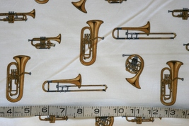 1/2yd Music/Trumpet/French horns instruments on ivory quilt fabric-free shipping image 3