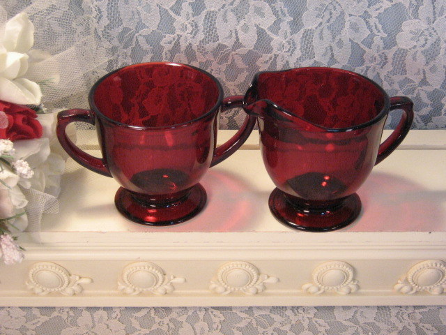 Primary image for Vintage Anchor Hocking Glass Royal Ruby Red Cream and Sugar Set Depression