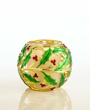Lenox Holiday Gold Metal Holly green & red votive NEW in Box - $17.99