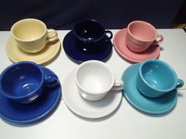 Set of 6 Fiesta Cups & Saucers~~~Multi Colors~~Homer Laughlin u.s.a. - $39.99