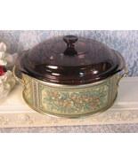Pyrex Glass Fireside Visions Brown Casserole Golden Harvest Holder Vintage  - $49.99