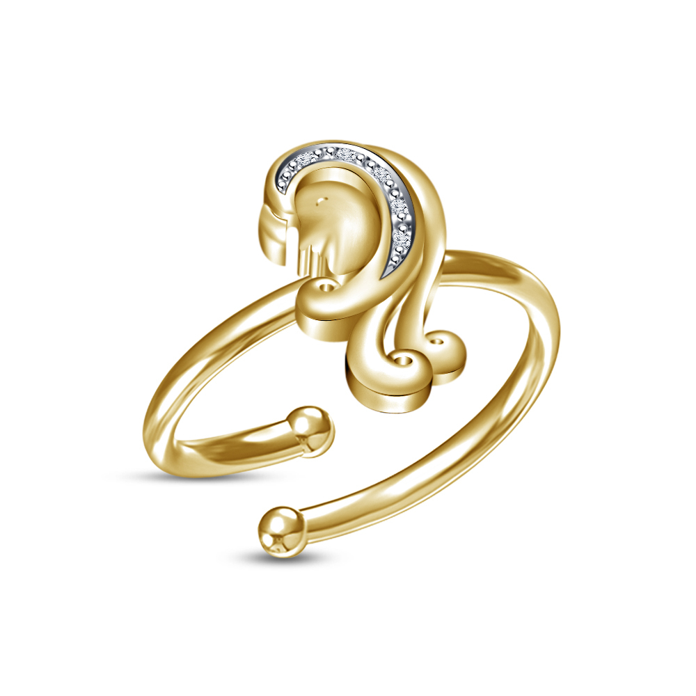 Primary image for Ladies Choice Pure Gold Plated RD Sim.Diamond Virgo Zodiac Sign Adjustable Ring