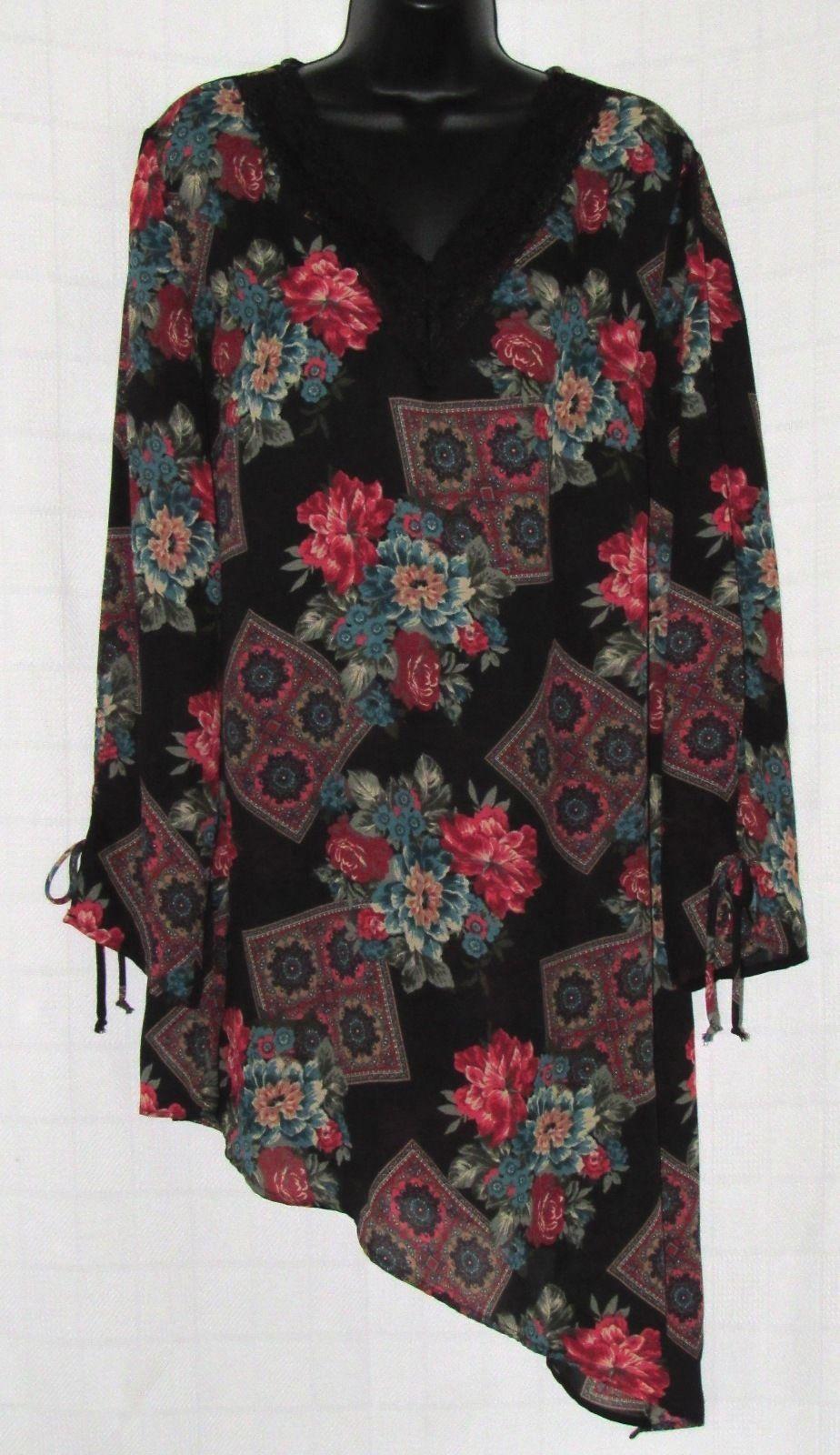 Black Floral Print Sheer Lace Trim Nightgown with Asymmetrical Hem