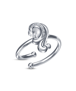 Ladies Special Zodiac Sign Virgo Adjustable Ring With White CZ White Gol... - $9.99