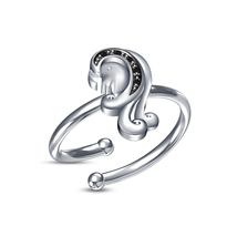 White Platinum Plated 925 Silver RD Sim Diamond Astrology Virgo Zodiac Sign Ring - £7.84 GBP