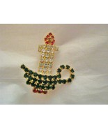 """Christmas Candle Pave Rhinestone gold tone 1.75"""" Brooch Pin unmarked pro... - $16.75"""