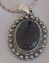 Maskit onyx silver pendant - $33.00