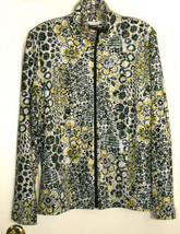 Laura Ashley Black Yellow White Floral Shimmering Zippered Zip-Front Jac... - $23.76