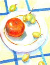 "Akimova: STILL LIFE WITH TANGERINE, approx. size 8""x10"", food - $10.00"