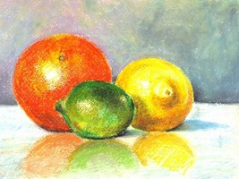 "Akimova: THREE FRUITS , orange, tangerine, lime, approx. size 8""x10"", food - $10.00"
