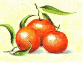 "Akimova: THREE ORANGES, approx. size 8""x10"", food - $10.00"