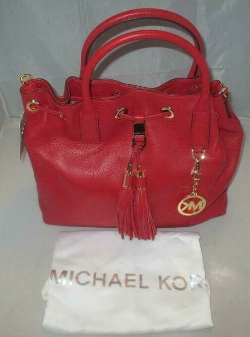 MICHAEL KORS CAMDEN LEATHER DRAWSTRING RED GOLD CROSSBODY LARGE SATCHEL BAG NWT image 4