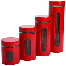 Red Canister Set Storage Counter-top Pasta Sugar Coffee - $31.35