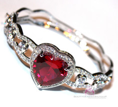 Womens Love Prophet's Heart Ruby Red Rose Cubic Zirconia Cz Hinged Cuff ... - $175.50