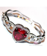 Womens Love Prophet's Heart Ruby Red Rose Cubic Zirconia Cz Hinged Cuff ... - $195.00