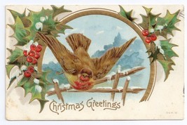 Christmas Bird Holly Snowoy Winter Scene Embossed Gold Gilt Frame Postcard - $3.50
