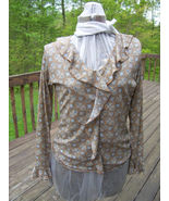 Faded Glory Brown Patterned Ruffled Top - $9.99