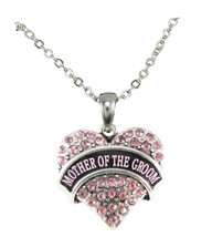 Mother of the Groom Pink Crystal Heart Silver Necklace Jewelry Wedding Gift - $14.72
