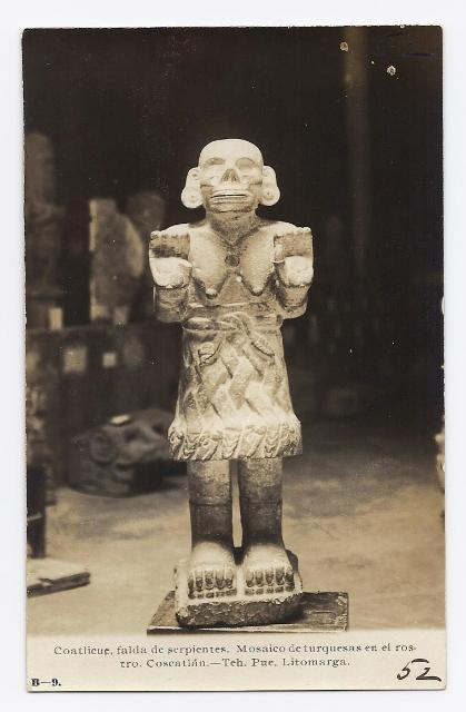 C1940 - Aztec Goddess Statue - Real Photo - Unused