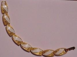 """Signed KRAMER Vintage Bracelet White Enamel Goldtone 7"""" - $37.99"""
