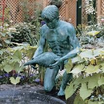 "39.5""H Kneeling Man with Shell Lost Wax Bronze Sculpture Garden Statue F... - $2,995.00"
