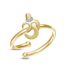 Luxurious 14k Yellow GP .925 Sterling Silver White CZ Shiv Om Adjustable Ring - £16.67 GBP