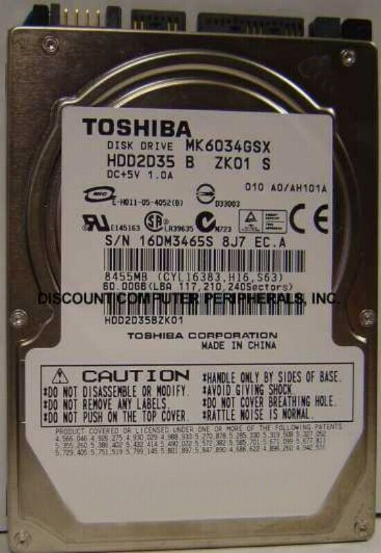 "New 60GB Toshiba MK6034GSX 2.5"" 9.5MM SATA Drive HDD2D35 Free USA Shipping"
