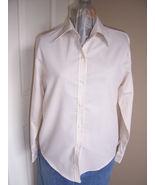Ladies Tan and White Striped Button Down Shirt - $16.89