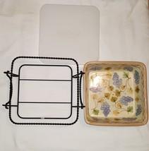 Temp-tations Ovenware Vineyard 2 qt 8x8 Covered Baking Dish w/Wire Rack ... - ₨1,366.38 INR