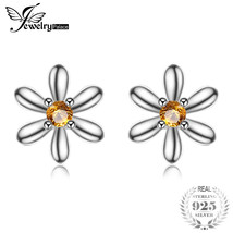 Jewelrypalace Flowers 0.1ct Created Orange Sapphire Stud Earrings Sterling Silve - $16.68