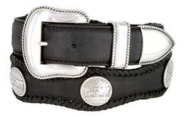 Oregon Trail Coin Conchos Western Leather Scalloped Belt Black 42 - $43.50