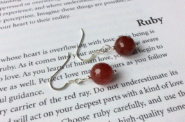 Ruby Earrings, Sterling Silver Nickel Free, Anniversary Birthday Gift fo... - £39.91 GBP