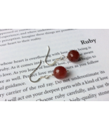 Ruby Earrings, Sterling Silver Nickel Free, Anniversary Birthday Gift fo... - £41.01 GBP
