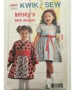 Kwik Sew 3921 Girls Kelseys Best Dress Toddler Sz 1 2 3 4 Lapped Front U... - $4.50